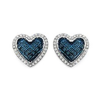 0.52 Carat Genuine White Diamond & Blue Diamond .925 Sterling Silver Earrings