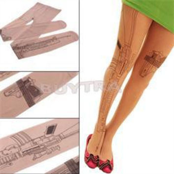 Sexy Machine Gun Tattoo Transparent Tights Stockings Pantyhose