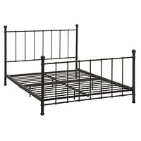 Full Size Dark Bronze Metal Platform Bed with Headboard & Footboard