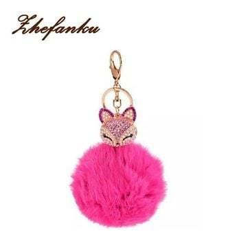 Cute Real Fox Fur Ball Plush Keychain Car Key Chain
