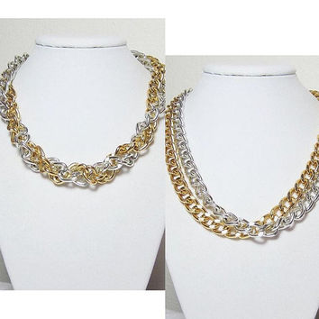 Chunky Chain Necklace Silver & Gold Double Big Links Jewelry