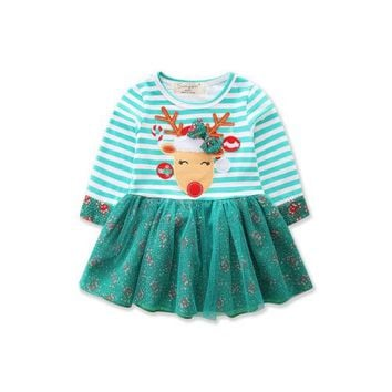 Helen115 Christmas Kids baby girl clothes Green Flower Striped Long Sleeve Dresses 1-7Years
