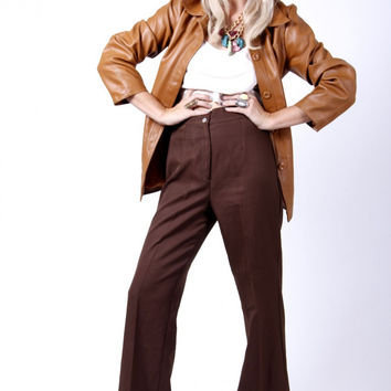 Vintage 70's Brown High Waist Bell Bottom Trousers