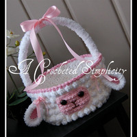 """Crochet Pattern: """"Lily or Lyle"""" the Lamb Easter Basket, Permission to Sell Finished Items"""