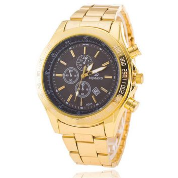 Mens Gold Band Strap Watch