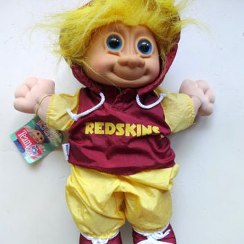 Vintage Russ Troll Kidz Washington Redskins Treasure Troll Doll