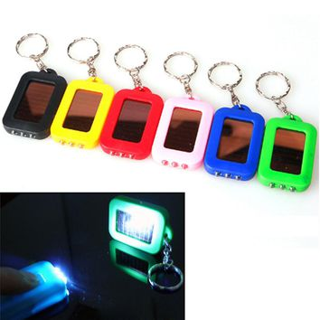 New Mini Solar Power Rechargeable 3 LED Flashlight Keychain Light Lamp Torch Gift