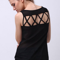 Hollowed Back Black Chiffon Shirt [NCSHM0115] - $23.99 :