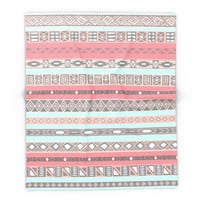 Society6 Peach Rose Baby Blue Aztec Tribal Native Patte Blanket