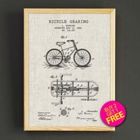 Bicycle Gear Patent Print Bike Gear Blueprint Poster House Wear Wall Art Decor Gift Linen Print - Buy 2 Get FREE - 289s2g
