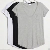 Women Cotton V-Neck Slim Junior Basic Plain Short Sleeve Casual Tee T-Shirt Tops