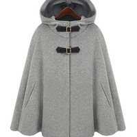 Hooded Cape Style Light Gray Coat = 1930098820