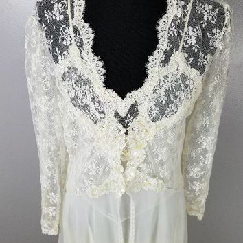 1980 80s Victoria's Secret VS Vicky's Peignoir Set Cream Iridescent Sequin and Pearl Lace Bridal Trousseau Anniversary Sz M