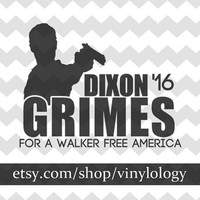 The Walking Dead Decal, Daryl Dixon Vinyl Decal, Rick Grimes for President, Zombie Decals, Walking Dead Stickers, Zombie Car, Laptop, Window