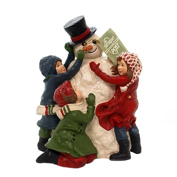 Christmas BUILDING A SNOWMAN Polyresin Hand Painted Cp7904