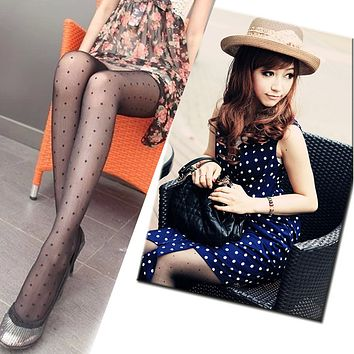 2017 Excellent Quality Womens Sexy Black Lace Small dot/Skeleton Tattoo/Shiny Pantyhose Stockings Tights