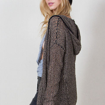 Swaying Hooded Cardigan Sweater