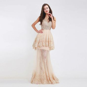 Luxury Champagne Evening Dresses Mermaid Long Sexy Beading Illusion Lace Prom Party Gowns