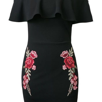 Black Off Shoulder Ruffle Embroidery Floral Patch Bodycon Dress