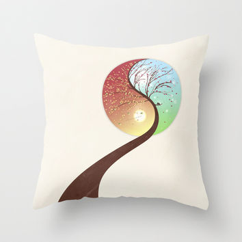 Yin-Yang Tree: Autumn-Spring Throw Pillow by Paula Belle Flores