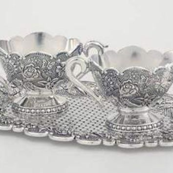 Floral Design Antiqued Silver Plated Zinc Sugar and Creamer Set ** Featured in Southern Lady Magazine
