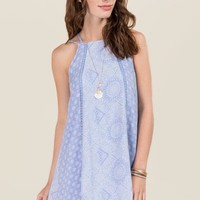 Sage Lattice Shift Dress