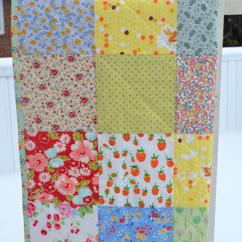 Handmade Patchwork Baby Girl Quilt Toddler Quilt Lap Quilt New Baby Shower Gift Sweet As Honey