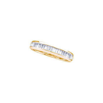 14kt Yellow Gold Womens Baguette Diamond Wedding Anniversary Band Ring 1/6 Cttw 18729