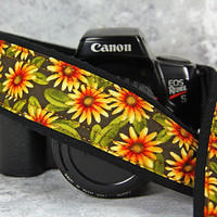 Yellow Daisy dSLR Camera Strap, Orange, Daisy, Floral, SLR,  18w