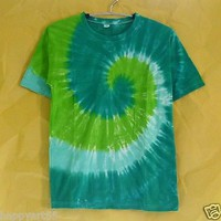 Tie dye shirt colorful GREEN BLACK teen shirt women tshirt rainbow swirl XS S M