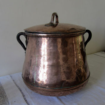 Antique French Copper Cooking Pot 1800's