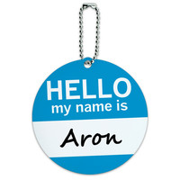 Aron Hello My Name Is Round ID Card Luggage Tag