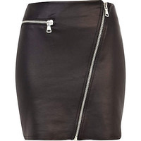 Black coated asymmetric zip biker skirt