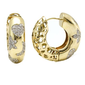 Heart Stars and Moon Diamond Hoop Earrings in 14k Yellow Gold