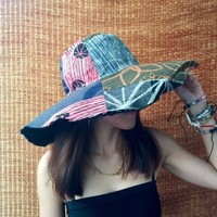 Multicoloured Unique Patchwork Wide Brim Hippie Festival Sun Hats Cotton Hat Lady Stylish Colorful Hippy Gypsy Gift for women Chic fashion