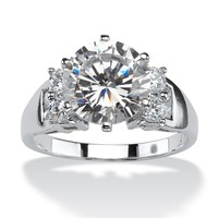 4.66 TCW Round Cubic Zirconia Engagement Anniversary Ring in 10k White Gold