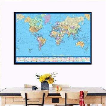60*90cm Classic World Map Poster No Frame Canvas Geographic Posters Wall Art Classic Picture For Living Room Bedroom Home Decor