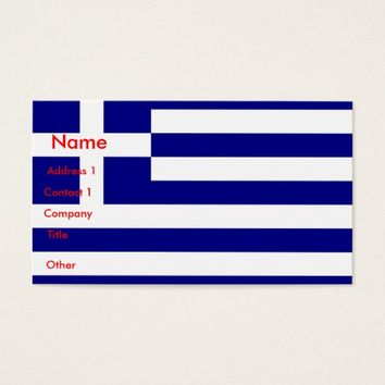 Business Card with Flag of Greece