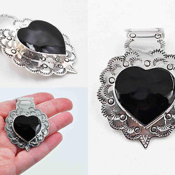Vintage Mexico Sterling Silver Heart Pendant, Black Enamel, Stamped, 3D, Scalloped, Large, Chunky, 22 Grams, So Beautiful! #c217