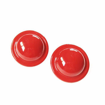Vintage Big Red Post Earrings Round Button Dome
