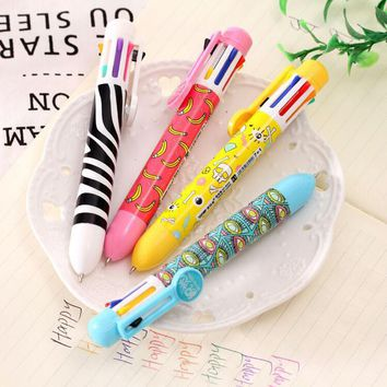 kawaii 8 color ball pen lovely multicolor pen multifunctional color pen Gifts for kids free shipping