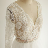 Lace Tulle Wedding Dress/Bridal Gown Deep V Neckline Elbow Lace Sleeves Sheer See Through Ball Gown Beaded Belt