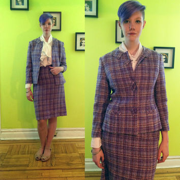 Vintage 1960's purple plaid skirt suit by Thalheimers