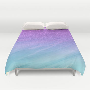 Duvet Cover Made to Order, Glitter Watercolor Purple and Blue, Ombre Bedding, Hipster Indie Pastel Goth Comferter, Blanket, Bedroom
