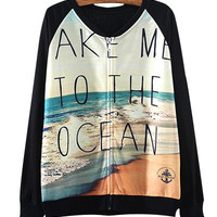 Black Ocean Scenery Print Sweater