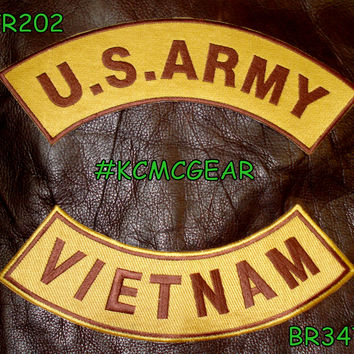 U.S. Army Vietnam Embroidered Patches Brown & Gold Military Patch Set for Jackets