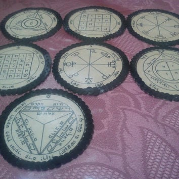 Offer 7 Planetary Seals Pentacles of Saturn,Angels, power Solomon ancient Talismans, Kerubim, Spirits Protects home,business, Magic, Elohim