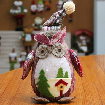 Christmas Gift For Kids Cute Owl Doll Home Decoration  Ornaments Christmas Ornaments Linen Owl Plush Doll Gift Aberdeen