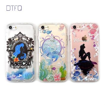 DTFQ Cartoon Alice in Wonderland Mermaid Embossed Printing Anti-knock Soft TPU Case Back Cover for iPhone 7 7 Plus 6 6s 8 X