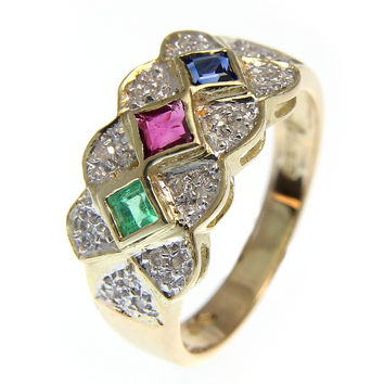GENUINE RUBY EMERALD SAPPHIRE DIAMOND RING 14K YELLOW GOLD